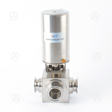 Square Hygienic Stainless Steel Pneumatic 3 Way Ball Valve